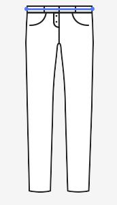 Obvod pasu se měří se nad boky, kde obvykle kalhoty nosíte a kde si přejete mít pas budoucích kalhot. Krejčovský metr veďte v polovině  pásku. Je potřeba stát přirozeně, nevtahovat zbytečně břicho. Odtud se měří všechny délkové míry.