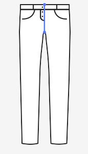 Přední šev – měřte od pásku vepředu až ke švu v rozkroku (vždy na existujících kalhotech).