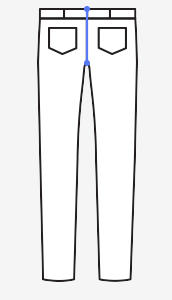 Zadní šev – měřte od pásku vzadu až ke švu v rozkroku (vždy na existujících kalhotech).
