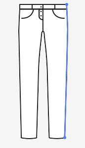 Boční délka kalhot – měřte od místa kde chcete mít pas až na zem (vždy na existujících kalhotech).