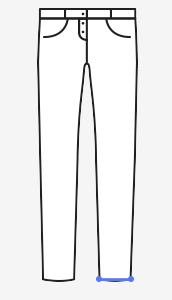 Obvod dolního okraje nohavice (vždy na vlastních kalhotách). Míru berte tak, jak chcete aby byly volné hotové kalhoty.